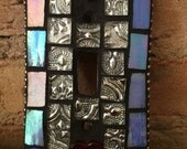 switchplate cover,art,in red,white and blue,mosaic tile. lightswitch cover,art,home decor with a heart.