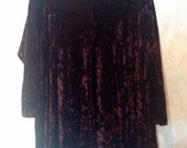 90s Crushed Velvet Brown Long Sleeve Dress Plus Size