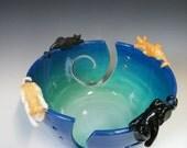 Jumbo Sized Yarn Bowl in Twilight Blue with Four Custom Kitties  - Made to Order