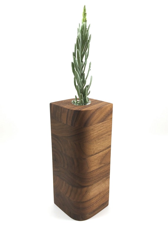 Walnut Wood Vase in Leaf Style -  Wedding Gift, 5th Anniversary Gift, House Warming Gift