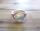 Genuine Opalite Wire Wrapped Ring, Opal Moonstone Mood Ring, Rose Wire