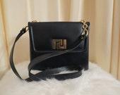 Vintage Leather Dark Navy Shoulder Bag Handbag