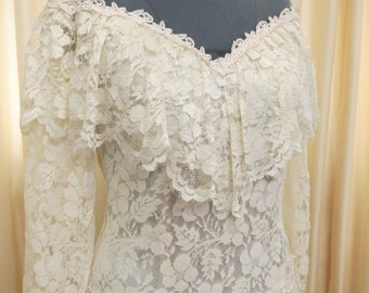 Vintage 70s Lemon Cream Lace Long Sleeve Formal Prom Dress Hippie Retro Wedding