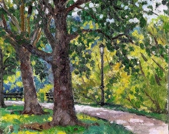 Shady Path, Inwood Hill Park, NYC. Small Realist Oil Painting Landscape, Original 8x8 Plein Air Impressionist Oil on Panel, Signed Original