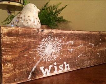 Hand Painted dandelion Art - Distressed Wood Art - Dandelion Distressed Wood Art - Shabby Chic Art - Cottage Decor - wish wooden sign -
