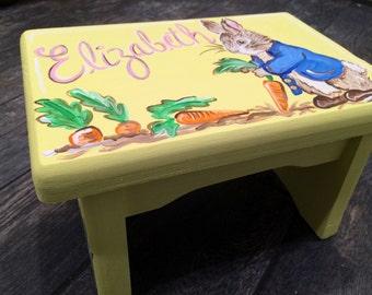 Peter Rabbit Step Stool Inspired - beatrix potter hand painted bench - hand painted peter rabbit step stool