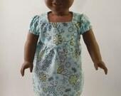 Summery Blue Dress For 18 Inch Dolls, American Girl
