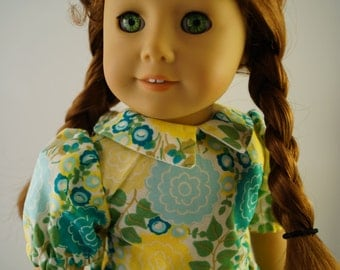 Depression Era Blue and Yellow Floral Dress for 18 inch Dolls, American Girl Dolls