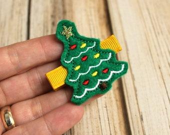 Christmas Tree Hair Clip, Felt Hair Clippie, Machine Embroidered, Alligator Clip, Non Slip, Ready to Ship