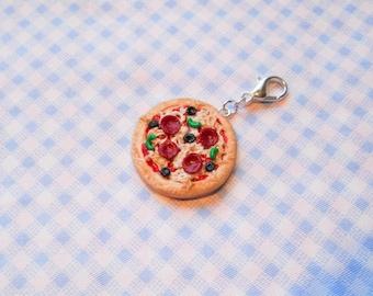 Pizza Charm, Miniature Food Charm, Polymer Clay Charm, Food Charm, Clip Charm, Lobster Clasp Charm, Kawaii Charm, Miniature Pizza
