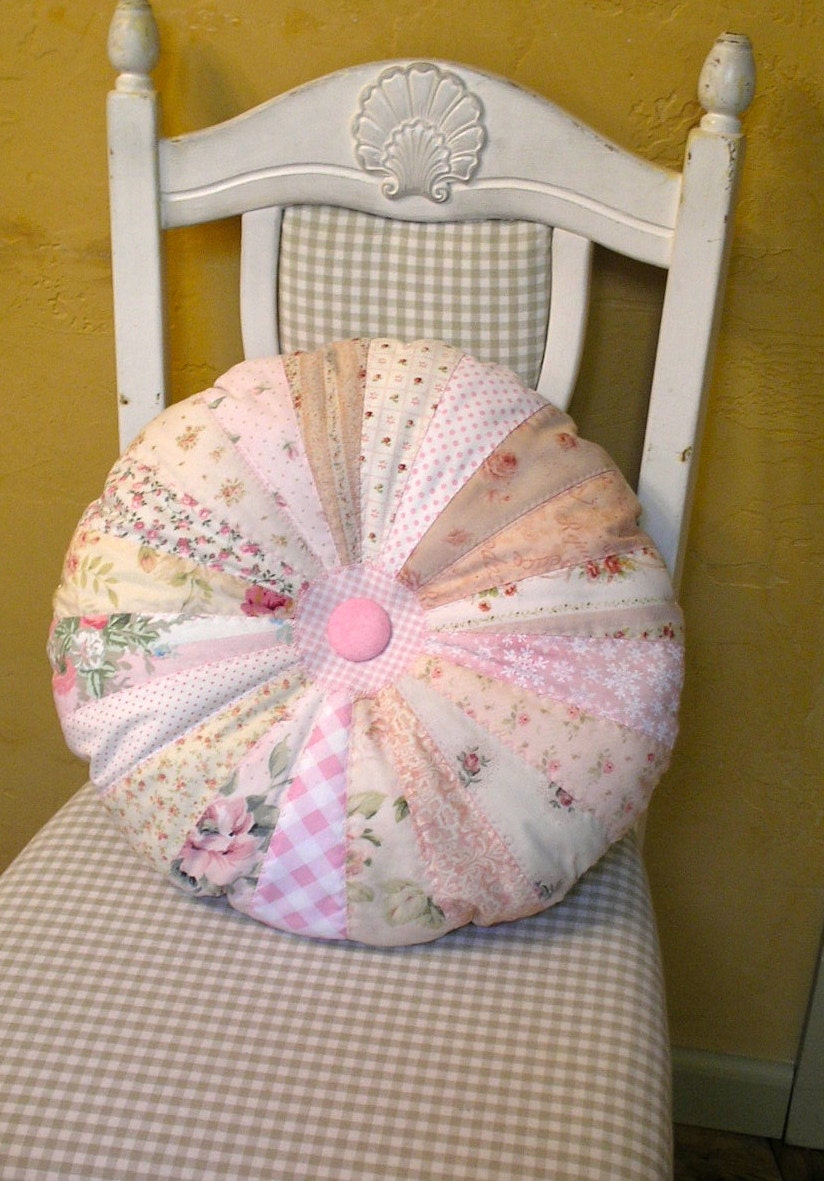 Shabby Chic Pink Pillow Quilted Round Sprocket by paintedquilts