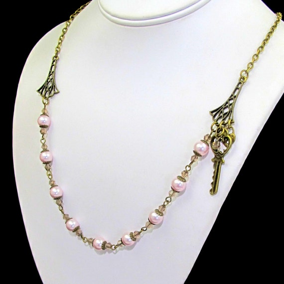 set matching necklace bracelet and earrings pink by