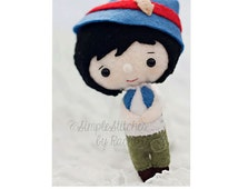 "SALE - 25% OFF – RTS Pinocchio Felt Doll - 5-1/2"" Handmade Miniature Doll - Pinocchio Doll -  Ready To Ship - Gingermelon Doll"