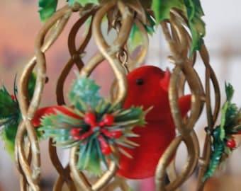 Vintage 60s-70s Bird Cage Christmas Ornament Mod Retro Mid Century Kitsch