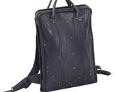 """HILMER LAPTOP BACKPACK - Black Leather Computer Sleeve Backpack for up to 17"""" Laptop - Custom Brass Hardware - Adjustable Shoulder Straps"""