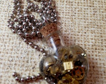 Heart Bottle filled with Watch Parts Steampunk Necklace