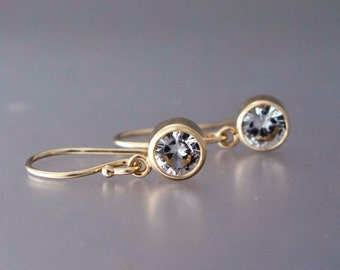 1.2 Carat White Sapphire 14k Gold Drop Earrings - Handmade in Yellow, White or Rose Gold