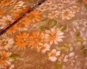 """J Manes """"Daisy Fields"""" -Fabulous 40s Cotton Floral Fabric - Daisy Flowers in Orange,Chocolate Brown,Olive,White Material -34"""" wide by 1.3 yd"""