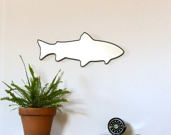 Trout Mirror / Handmade Wall Mirror Art Shape Outline Decor Miroir Rainbow Brook Brown Trout Fly Fishing Angling Angler