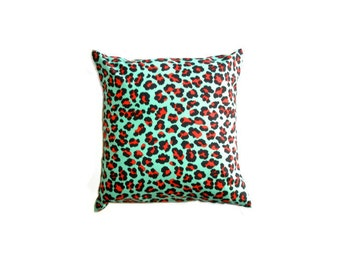 "Mint Leopard Cushion Cover Bright Print Cotton 14"" 35cm Pillow Case Rockabilly Peppermint Green Bright Orange Red Black Animal Retro Kitsch"