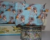18cm/7inch medium make-up bag/wash bag in Goldfinches & Asters pattern, digitally printed and handmade in Yorkshire, UK