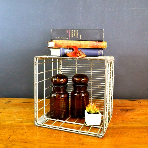 Items similar to vintage metal dairy crate sanitary dairy for Decorating with milk crates