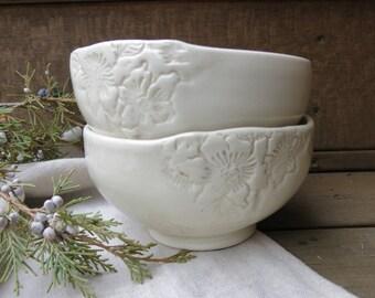 Simple Textured Ceramic White Bowl Porcelain Urban White Dinnerware Design, Handmade Artisan Pottery by Licia Lucas Pfadt
