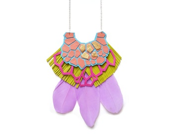 Geometric Necklace, Purple Feather Statement Necklace, Green Blue and Pink Bib Necklace, Lime Fringe Leather Necklace, Geometric Jewelry