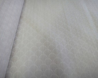 """56"""" Wide Cream or Light Beige Fish Scales Print Fabric Lightweight Home Decorator Fabric French Chic ST"""