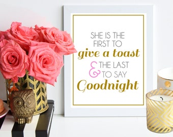 SALE - Give a Toast and Say Goodnight  // pink and gold poster art print - bar cart decor / bar cart art print / bar cart quote / dorm decor
