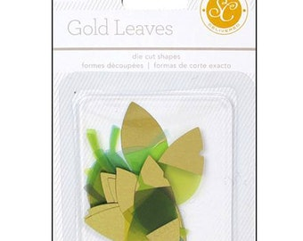 A C Studio Calico Lemonlush Collection Embellishments Die-Cut Cardstock LEAVES with GOLD FOIL