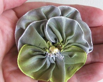 Small Pansy Pin Lilac to Chartruese Green - Vintage French Ribbon - Handmade