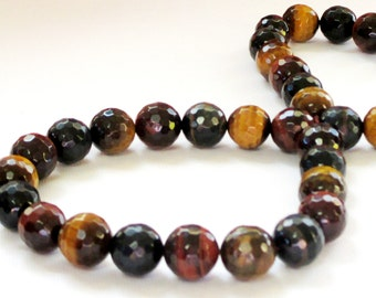 "Tiger Eye Faceted Round Beads- TigerEye Genuine Natural Gemstone - Mix Brown Color Drilled Beads - DIY Jewelry Making - 12mm - 7.5"" Strand"
