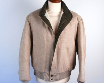 1980's Brown Wool Blend Bomber Jacket by Gordon and Furgoson for Town & Country