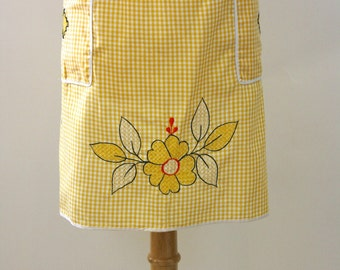 Vintage 50s Floral Apron Yellow Cotton Gingham Half Apron w Cross Stitch & Embroidered Flowers