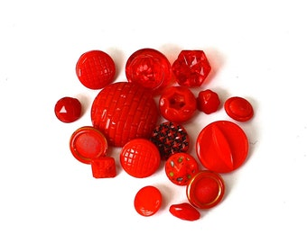 Vintage Buttons Lot of 17 Red Glass Buttons Mixed Button Lot