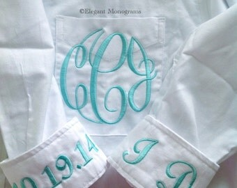 Monogrammed Bridal Shirt For Wedding Day Getting Ready Shirt