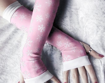 Frost Princess Arm Warmers - Pale Baby Pink White Snowflakes Cotton - Winter Yoga Gloves Holiday Snow Frozen Ice Gift Idea Cycling Lolita