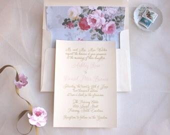 Elegant Wedding Invitation / Lace Invitations / Floral Wedding Invitations / Pink Ashley Rose Invite Sample, Ribbon Customizable