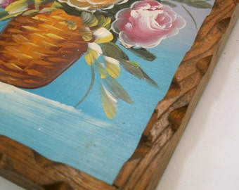 Vintage Floral Folk Painting in Carved Wooden Frame