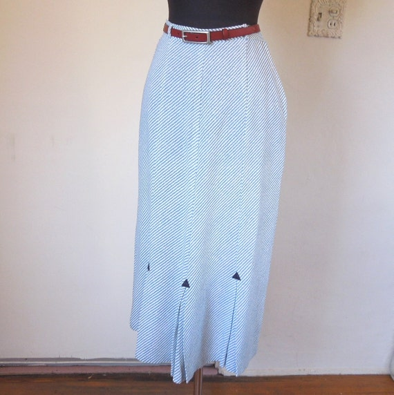 vintage 50 s pencil skirt blue and white by momodeluxevintage