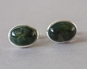 Moss Agate cuff links, green cufflinks, gemstone cufflinks.