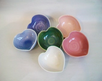 10 Heart Bowls -Wedding - Shower - Party Favors, Table Setting Decoration - Hand-Made to Order - Pinks, Blue, Lavender, Green, White