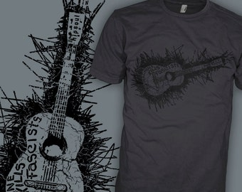 Woody Guthrie Band Shirt - This Machine Kills Fascists - Acoustic Folk Guitar Rock T-Shirt