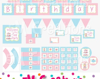 Tea Party Birthday Printable Decorations - Tea Party Printables  - Tea Party Birthday Party - Tea Cup Tea Pot Banner- INSTANT DOWNLOAD Pdf