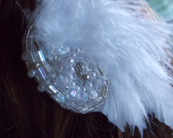 Swan Lake Beaded Feather Hair Clip