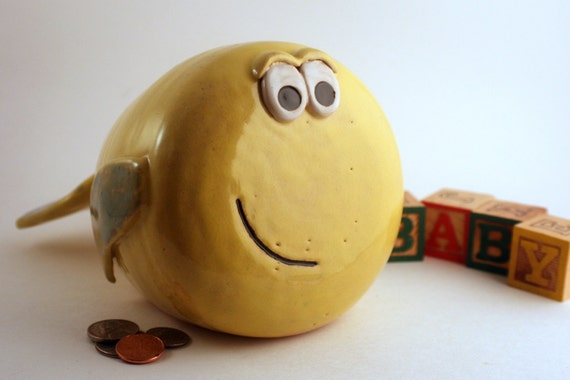 Whale Fish Coin Piggy Bank in Yellow Green