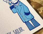 Hey Sailor - Chilled-Out Sailor Smokes a Pipe - OUOU Illustration - Handmade Letterpress Card