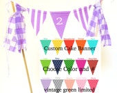 Custom Cake Topper Birthday Party Banner, Mini Bunting, First Birthday, Second Birthday, 1st, 2nd, Pennant Flags, Tassels, Choose Your Color