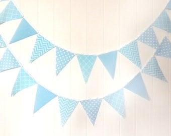 Bunting, Banner, Fabric Pennant Flags, Light Pastel Blue, Polka Dot, Chevron, Quatrefoil, Boy Baby Shower, Birthday Garland, Photo Prop